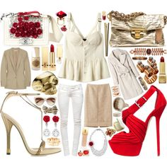 Wearing whites and neutrals with a pop of red make a strong statement