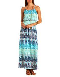 strappy chevron print maxi dress
