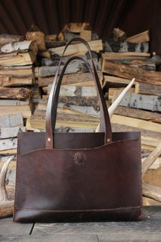 """Leather Tote: Rustic Hand Stitched """"THE GRAND"""" TOTE with Copper Rivets by Willow Creek Leather Co."""
