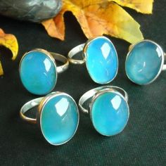 Buy Aqua blue chalcedony ring, Oval stone sterling silver ring ...
