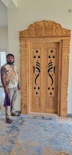 Wooden Front Door Design, Double Door Design, Wooden Front Doors, Pooja Room Door Design, Ceiling Design Living Room, Door Design Interior, Single Main Door Designs, Single Floor House Design, Temple Design For Home