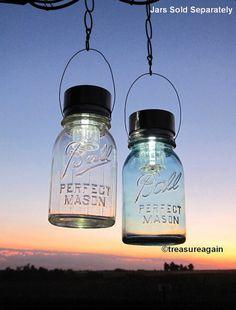 Hanging Solar Mason Jar Lids 2 Outdoor Garden Upcycled Mason Jar Solar Lights with Hangers, No Jars on Etsy, €17,99