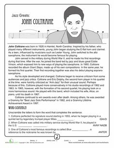 Printables General Music Worksheets american history music radio and worksheets on pinterest jazz greats john coltrane
