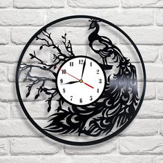 Peacock design vinyl record clock home wall art shop office playroom vet bedroom