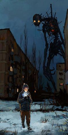 will always fine it's way in the dark! sempre vai ficar bem no escuro! Dark Fantasy Art, Fantasy Artwork, Sci Fi Fantasy, Monster Concept Art, Monster Art, Arte Horror, Horror Art, Arte Obscura, Creepy Art