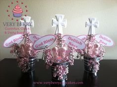 6 Girl Baptism with God Bless Name Centerpieces