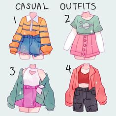 Cute Art Styles, Cartoon Art Styles, Fashion Design Drawings, Fashion Sketches, Kleidung Design, Jugend Mode Outfits, Drawing Anime Clothes, Manga Clothes, Clothing Sketches