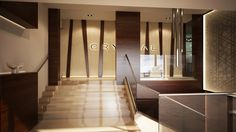 Crystal restaurant in Hungary, Győr city. Luxury modern interior with sweet ambient. Entrance area.