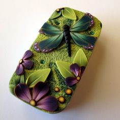 Dragonfly Garden Needle Case Slide Top Tin by Claybykim on Etsy, $14.00