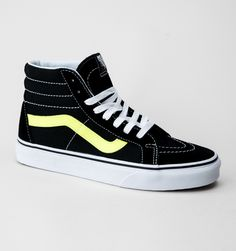 b5e915db37c9a Vans SK8-Hi Reissue (Neon Leather) Trainers Black-Neon Yellow Yellow Vans