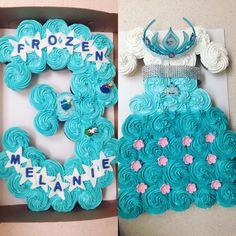 Frozen themed cupcake cakes from a couple of weeks ago! Cupcake cakes are the perfect cakes for your child's party! Frozen Birthday Cupcakes, Frozen Cupcake Cake, Elsa Birthday Party, Frozen Birthday Theme, Frozen Themed Birthday Party, 3rd Birthday Cakes, 4th Birthday Parties, Birthday Party Decorations, Cupcake Cakes