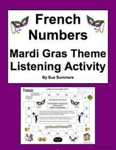 French Numbers and Math Listening Activity Mardi Gras Theme by Sue Summers, fsl