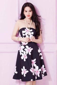 Đầm Ngọc Trinh Cúp Ngực In Hoa