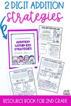 This math resource helps students practice 2 digit addition strategies including break apart, open number line, hundred chart, and compensation as well as make sense of math word problems. It also focuses on student writing in math, specifically with how they explain their thinking in written sentences when they solve a problem. Students do exploratory and collaborative math activities using an Addition Strategies Resource Book. Great for math workshop, guided math, and math centers.