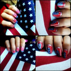 4th of July Nails ♥  It's 4th of July! this is a simple nail art of the American flag that you might like. :)
