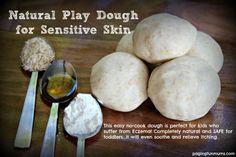 No-cook Natural Play Dough Recipe for Sensitive Skin - perfect for kids who suffer with Eczema! It's salt FREE and made with natural products that will actually help to soothe dry and itchy skin.