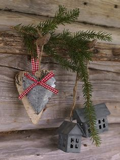 scandinavian Christmas/gonna' find where to buy things like this!/Make the houses with cardboard & spray paint!