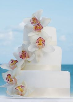 Tropical elegance wedding cake ~ created by Colin Cowie for Hard Rock Hotels and @applevacations
