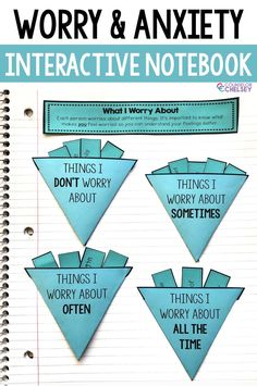 These worry and anxiety activities for interactive notebooks will help your students better understand their anxious feelings. The 8 pages are perfect Coping Skills Activities, Counseling Activities, Art Therapy Activities, Therapy Ideas, Counseling Quotes, Health Activities, School Counseling, Social Emotional Learning, Interactive Notebooks