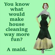 Oh, no!!! In the first place, I'm not lazy. And secondly, nobody cleans a house better than myself.....not gonna happen!