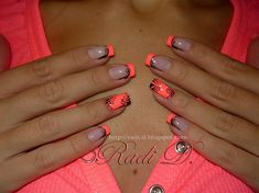 Neony from RadiD - Nail Art Gallery nailartgallery. - Neony from RadiD – Nail Art Gallery again this year nailartgallery.na … from N … – Funky Fr - Neon Orange Nails, Coral Nails, Neon Nails, My Nails, French Tip Nail Designs, Diy Nail Designs, French Tip Nails, Cute Nails, Pretty Nails