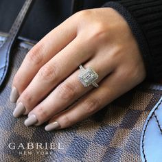 Gabriel & Co.-Voted #1 Most Preferred Fine Jewelry and Bridal Brand. 14k White Gold Emerald Cut Double Halo Engagement Ring
