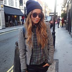 Hipster- cool... Clash of the check shirt and Aztec-like print of the jacket. Beanie and retro glasses top off the look!