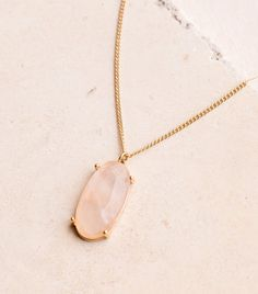 """- Worn gold plated layering necklace with natural quartz stone pendant - 14"""" total hanging length with 2"""" extension chain - Lobster clasp"""