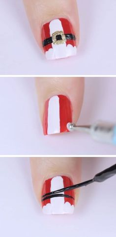 Santa Suit Click Pic for 20 Easy Christmas Nails Art Designs Winter Easy Nails Designs for Short Nails Xmas Nails, Holiday Nails, Diy Nails, Santa Nails, Easy Christmas Nails, Christams Nails, Xmas Nail Art, Christmas Makeup, Nail Nail