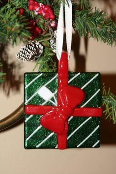 Glass Present Ornament. $10.00, via Etsy.