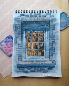 Я сразу влюбилась в это окошко! Оно такое атмосферное, романтичное. Поэтому, найдя его на пинтересте, я ничуть не размышляя взяла карандаш и стала рисовать. Оказывается так приятно рисовать красками! Да, еще очень много вопросов, но все приходит с опытом :) #зима #winter #wintermood #скетч #рисунок #sketch #sketchbook #акварель #зимнееокно #watercolor #рисую #люблюрисовать #творчество #скетчинг #арт #вдохновение #draw #drawing #aquarelle #sketching #art