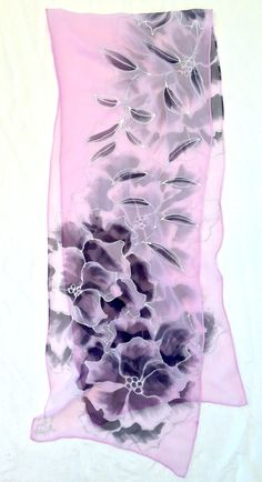 Hand Painted Silk Scarf Pink and Black Peony Scarf Floral Chiffon Scarf, Silk Chiffon, Painted Silk, Hand Painted, Black Peony, Purple Peonies, Silk Art, Silk Shawl, Floral Scarf