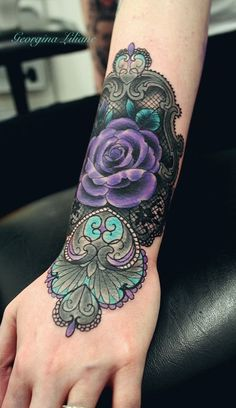 Purple lace tattoo with rose