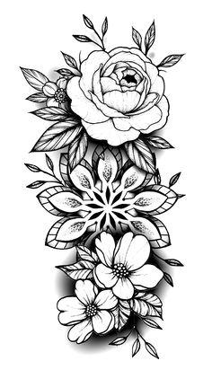 Excellent simple ideas for your inspiration Tatuaje Mandala Floral, Dotwork Tattoo Mandala, Mandala Tattoo Sleeve, Mandala Flower Tattoos, Flower Tattoo Drawings, Mandala Tattoo Design, Geometric Flower Tattoos, Paisley Tattoos, Mandala Rose