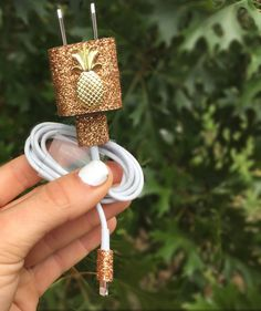 Gold sparkly pineapple Iphone 5 5c 6 6s charger by KayleesKrafts15
