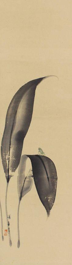 Japanese Fine Art Hanging Scroll, Frog by Konishi Fukunen (-1959)