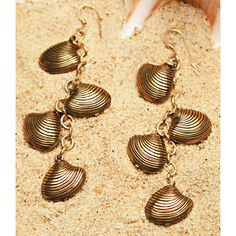 """Summer Clearance Sale. 58% off Sea Shell Earrings. Only 2 Left.  Gorgeous dangling earrings strike just the right balance of style and sophistication. Perfect for your favorite mermaid. 2 ¼"""". Handcrafted in the USA. #Gifts #Lifestyle #Girlfriends #GirlPower #Inspirations #Sisterhood #Friendship #Jewelry"""