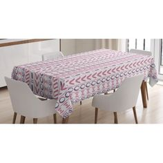 Striped Tablecloth, Primitive Shapes with Flowers Circles Ancient Folk Culture Inspired Trippy Motif, Rectangular Table Cover for Dining Room Kitchen, 60 X 84 Inches, Pink Purple, by Ambesonne #primitivediningrooms