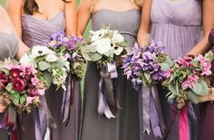 @Carly Rushton I know you don't want to mix but these grey and purple bridesmaid dresses look awesome.- Britt just so you can see and even kyle what mixing a couple colors would look like