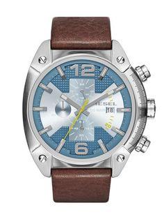 Diesel Overflow Chronograph Brown Leather Men 's Watch DZ4340