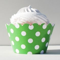 Kiwi Green Polka Dots Cupcake Wrappers
