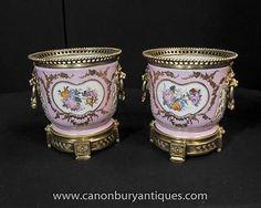 Pair French Sevres Porcelain Cache Pots Floral Planters Bowls in Pottery, Porcelain & Glass, Porcelain/ China, Sevres | eBay