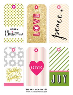 Christmas gift tag freebie via Dear Miss Modern: shabbyloveschic