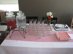 Camping theme/Picnic Theme bridal shower punch with mason jars and paper straws
