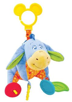 Take a trip to the Hundred Acre Wood and explore your own tale at home or on-the-go. Hang this EEYORE Activity Toy from a stroller or crib and watch your baby's eyes light up with excitement. The colorful toy includes a squeaker, crinkle textures, a chime, mirror, leaf teether and textured ring for your little hunny's tactile exploration and teething.