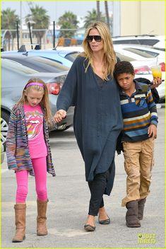 Heidi Klum & Martin Kirsten take the kids Leni, Henry, Johan and Lou to the beach on July 13, 2013