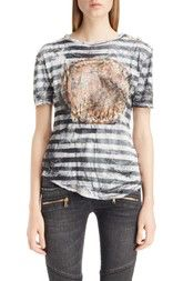 Balmain Stripe Print Button Shoulder Tee available at #Nordstrom