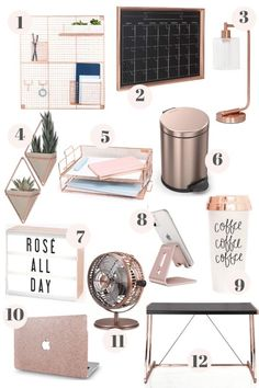 Room Decor Bedroom Rose Gold, Rose Gold Rooms, Room Ideas Bedroom, Rose Gold Bedroom Accessories, Rose Gold Decor, Ikea Bedroom, Office Desk Accessories, Diy Bedroom Decor For Teens, Rose Gold Interior