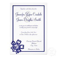 Modern Blue Flower Line Art Wedding Invitations
