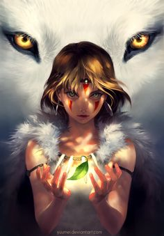 Eyes Unclouded - Princess Mononoke fan art by yuumei (Wenqing Yan)